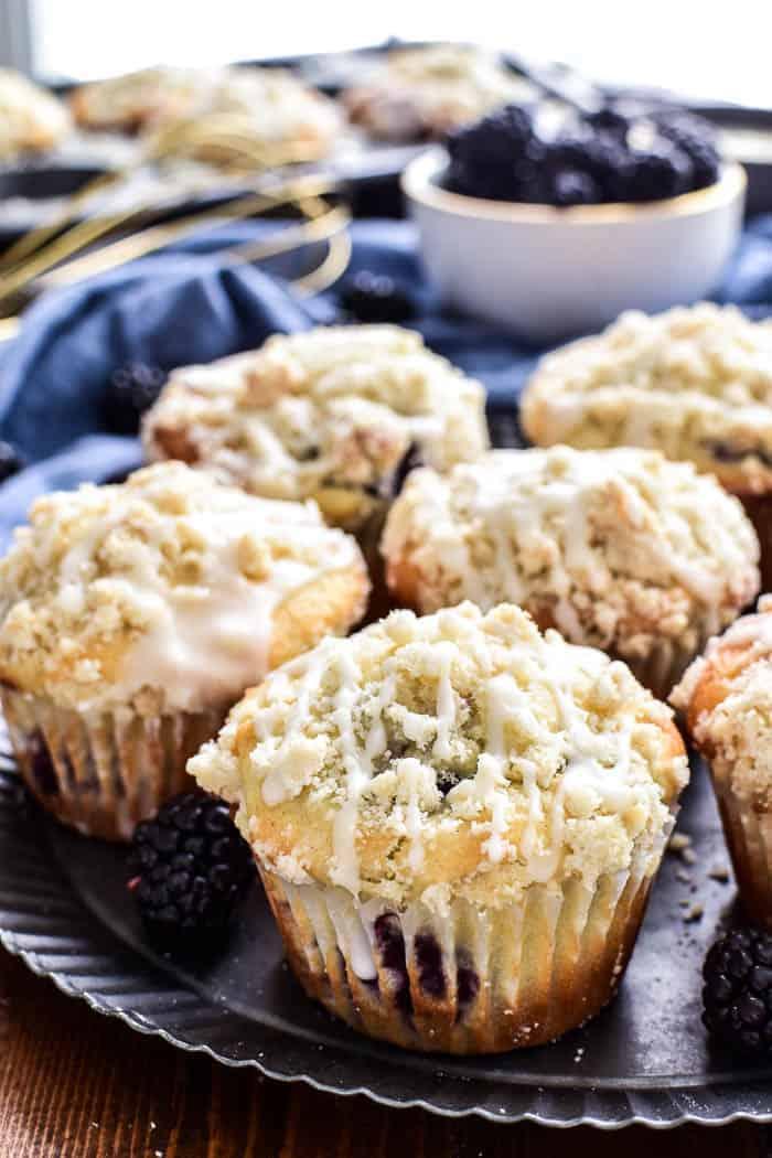 Blackberry Streusel Muffins on serving plate