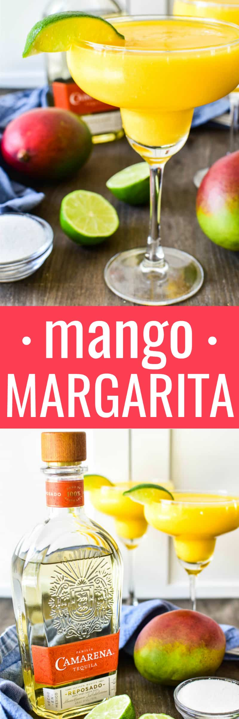 Collage image of Frozen Mango Margaritas