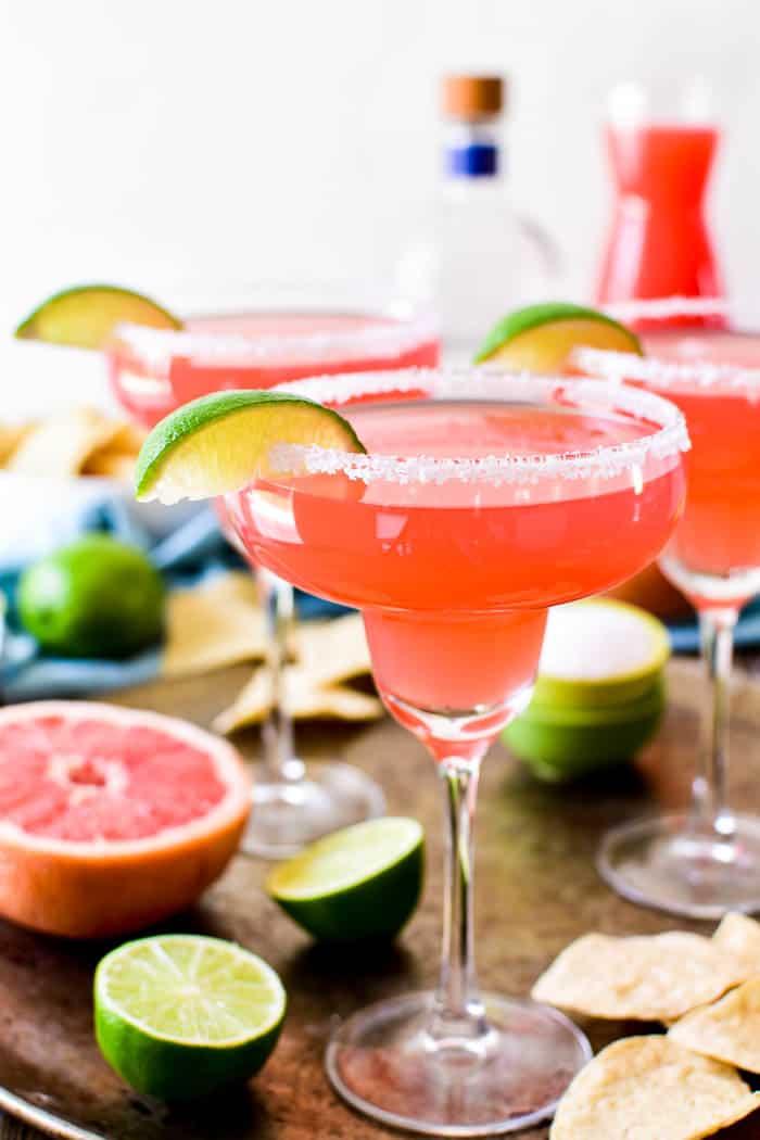 Grapefruit Margaritas on serving tray