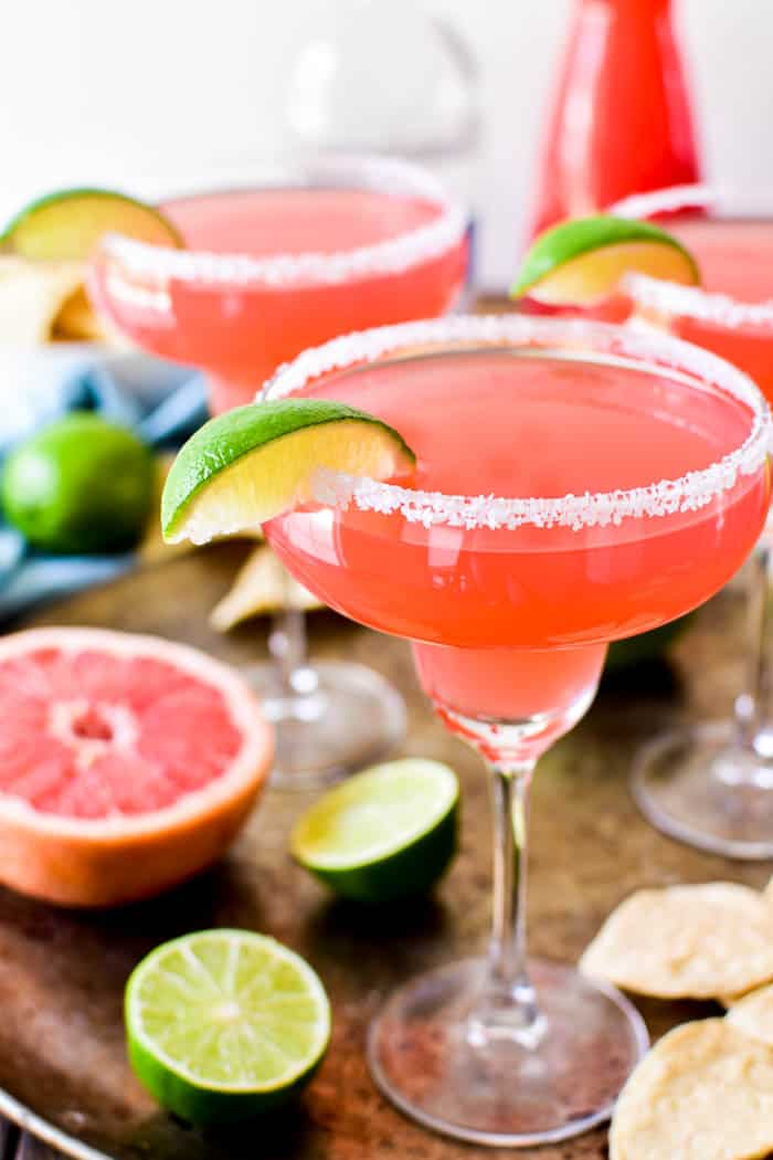 Close-up of Grapefruit Margaritas on serving tray