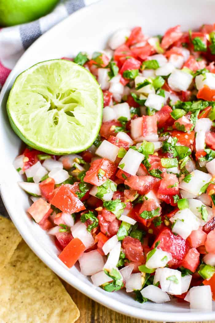 Close-up of Pico de Gallo in a bowl