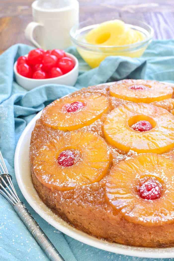Pineapple Upside Down Coffee Cake on a serving plate