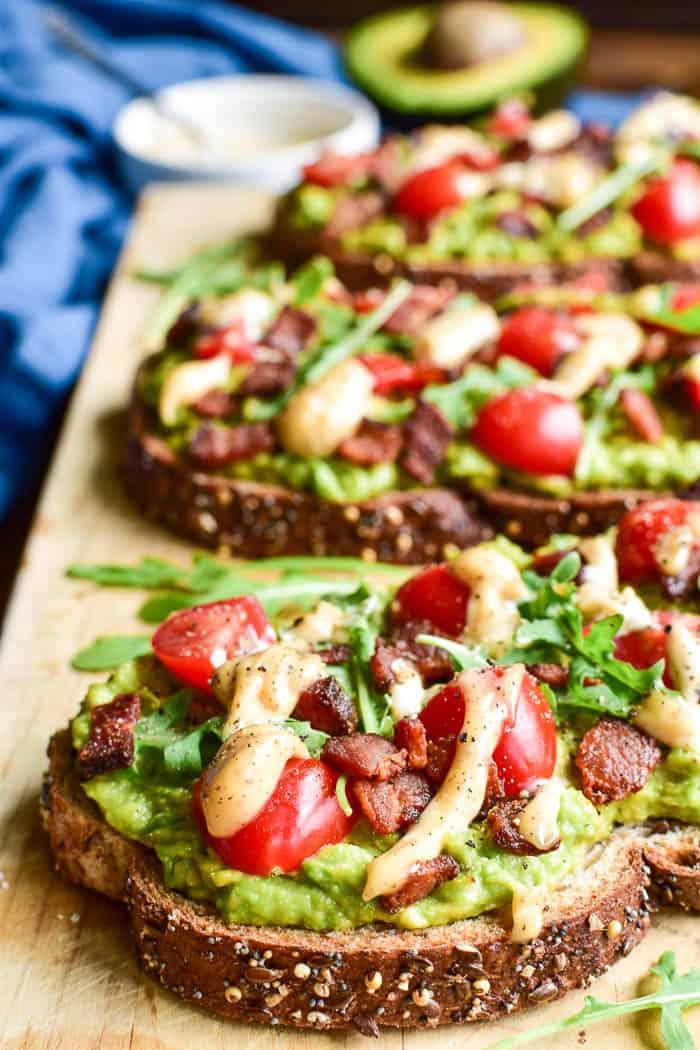 Head-on image of BLT Avocado Toast