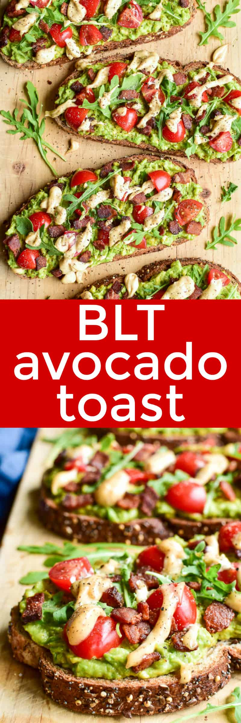 Collage image of BLT Avocado Toast on wooden board