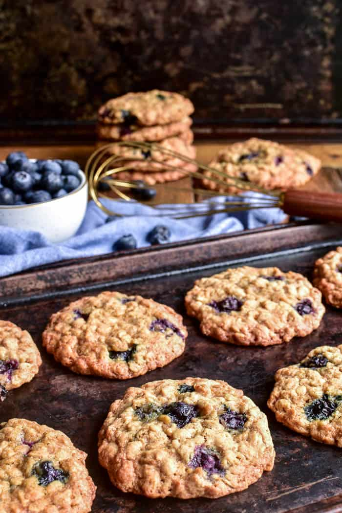 Blueberry Oatmeal Cookies on baking sheet