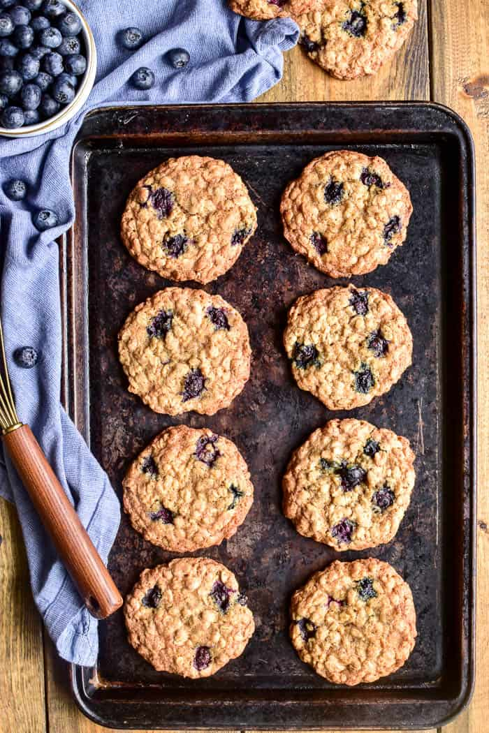 Blueberry Oatmeal Cookies on a baking pan