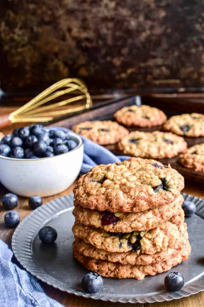 Stack of Blueberry Oatmeal Cookies on a serving tray