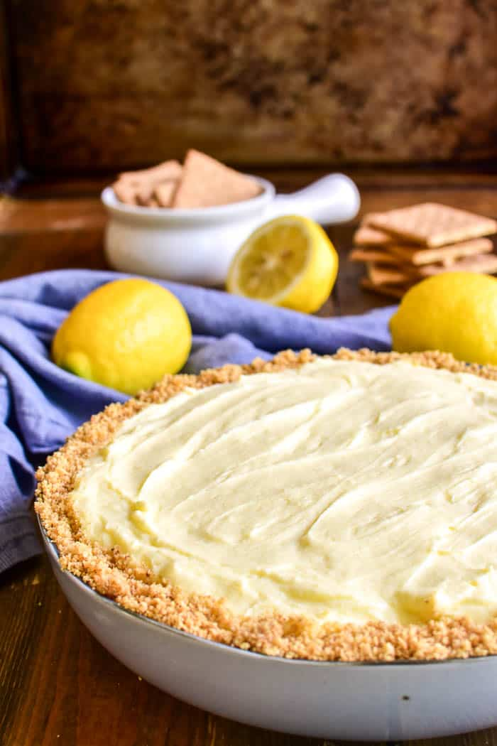 Lemon Pie Cheesecake Dip in serving dish