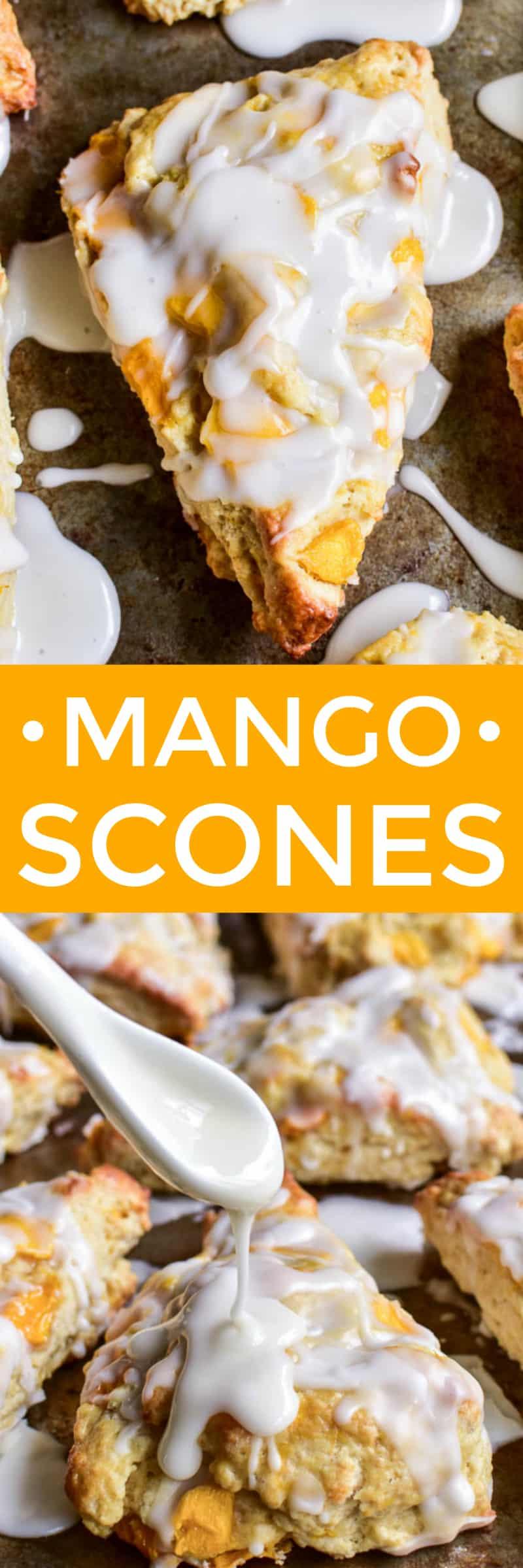 Collage image of Mango Scones with vanilla glaze