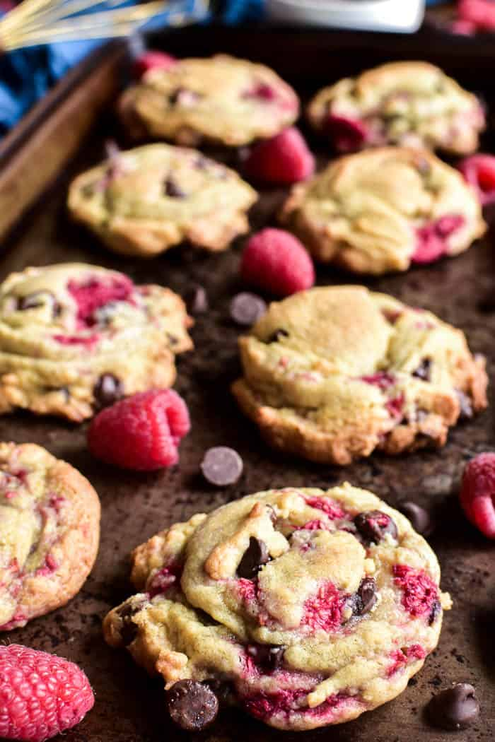 Close-up of Raspberry Chocolate Chip Cookies