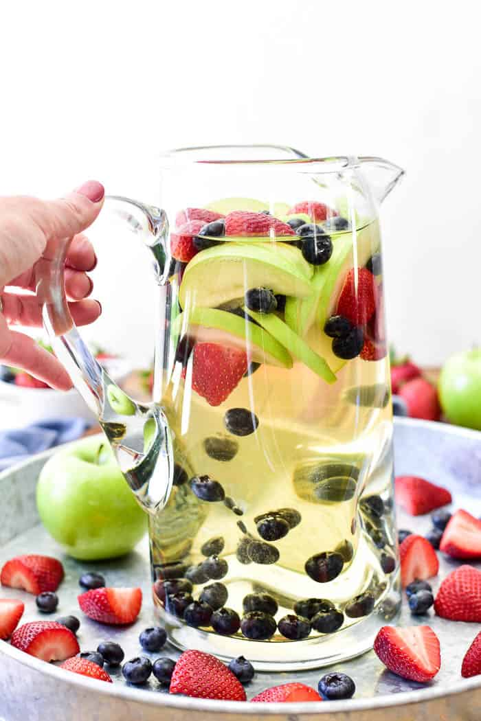 White Sangria in pitcher ready to be poured