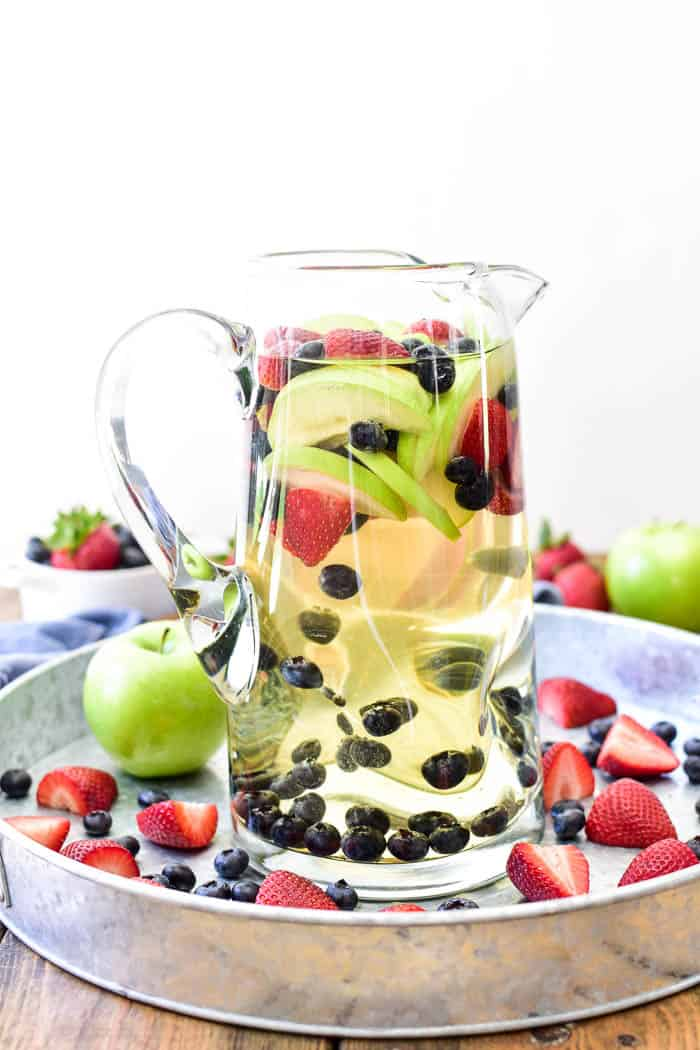 White Sangria in pitcher on serving tray