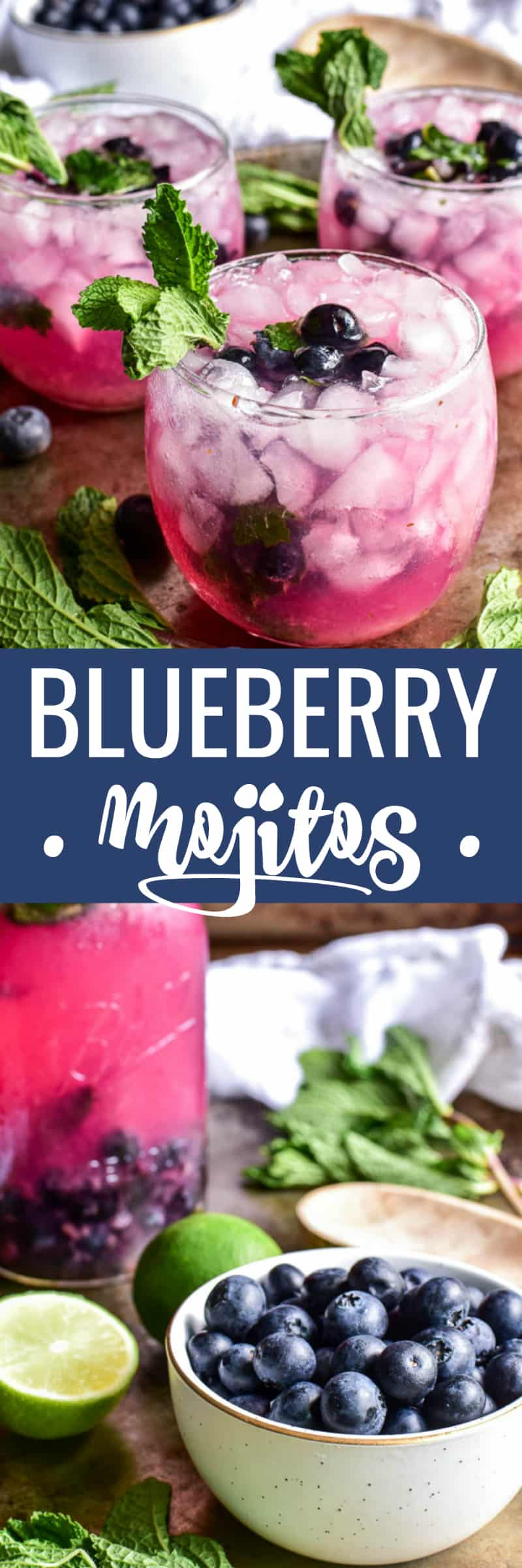Collage image of Blueberry Mojitos and ingredients