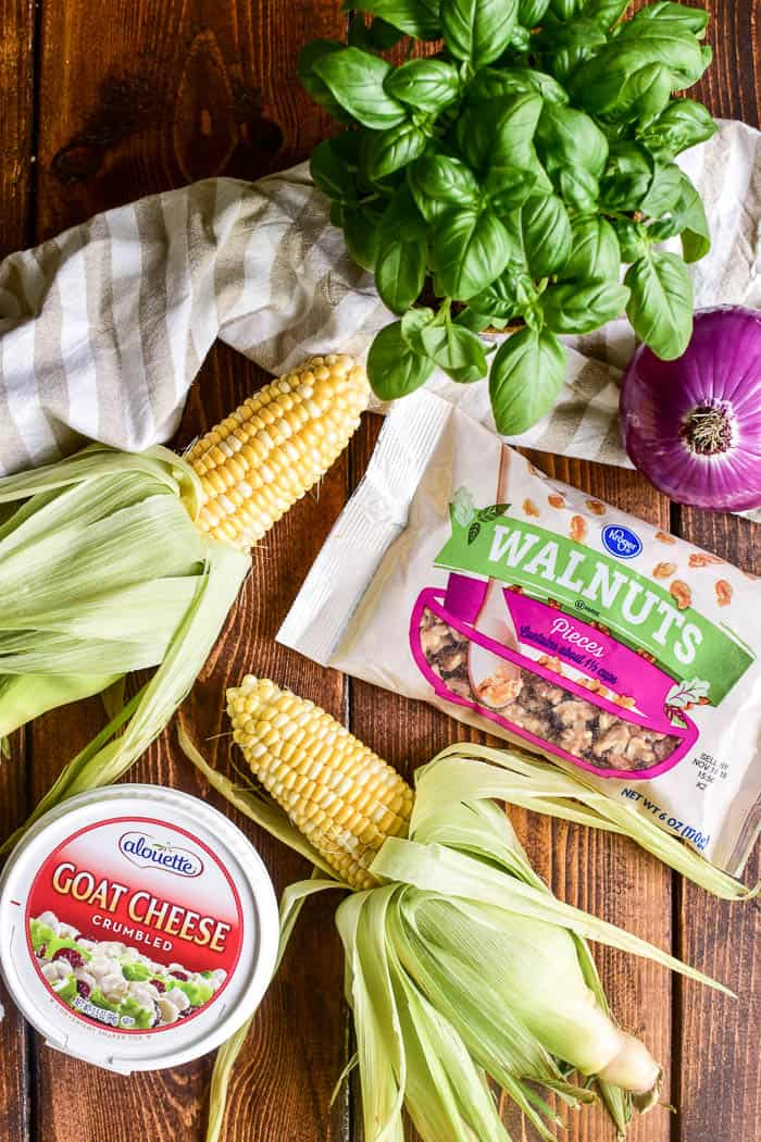 Fresh Corn Salad ingredients on wooden background
