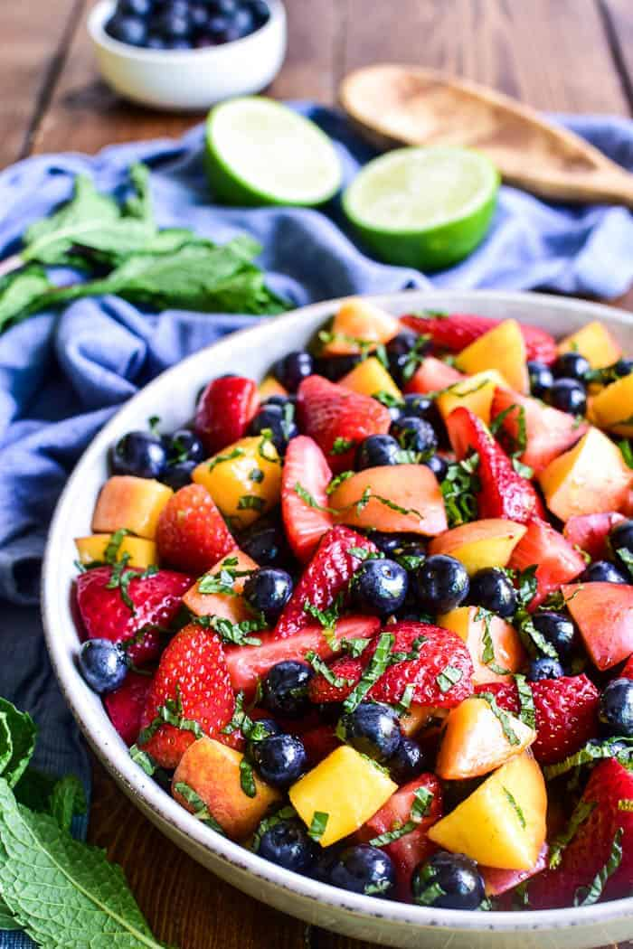 Mojito Fruit Salad in a bowl