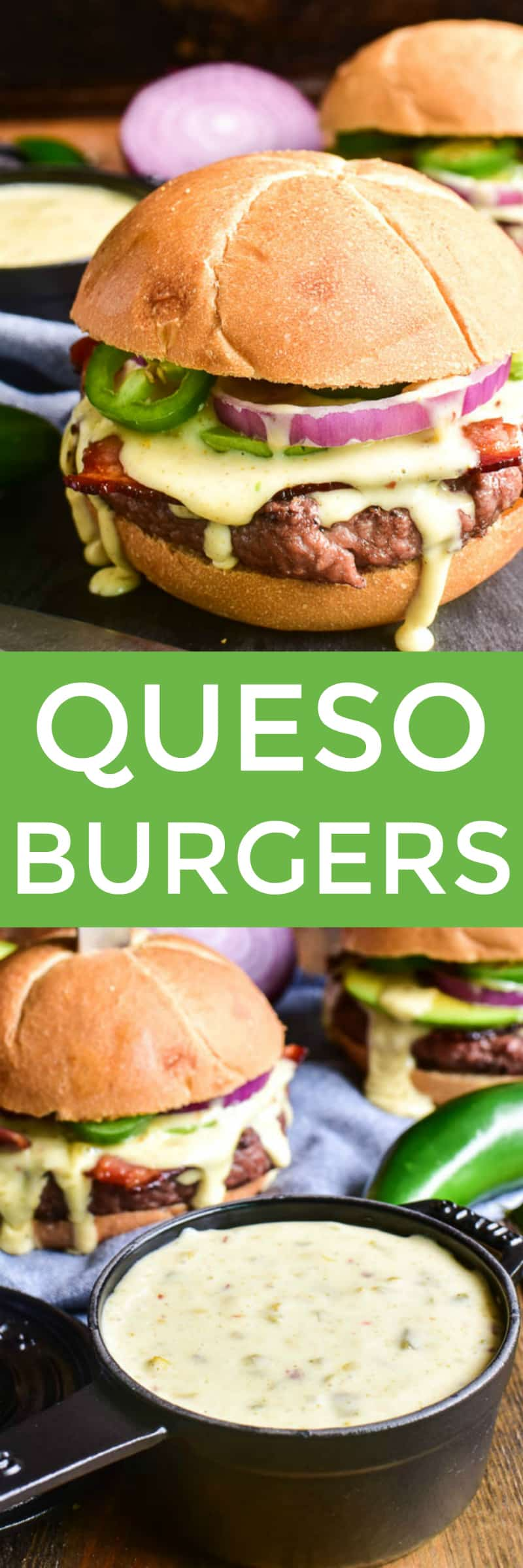 Collage image of Queso Burgers and homemade Queso