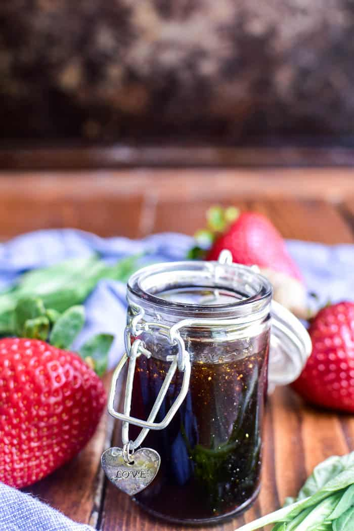 Honey Balsamic Vinaigrette with fresh strawberries and fresh basil
