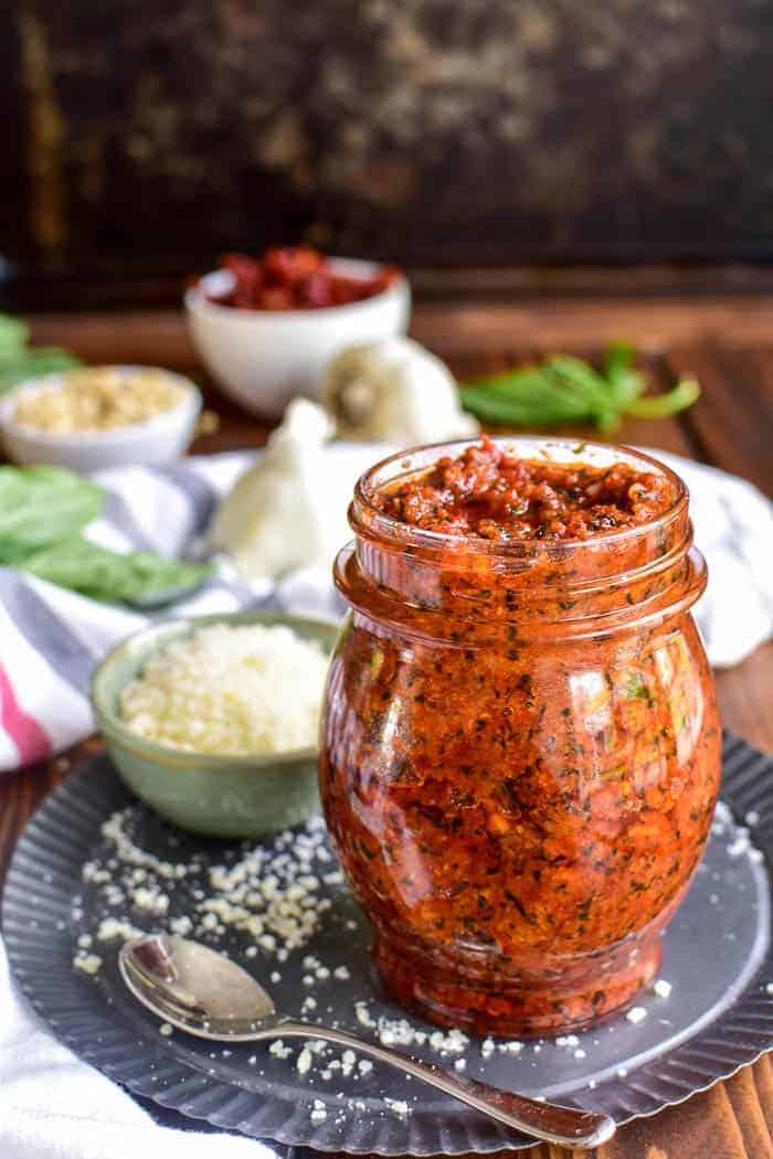 Sun-Dried Tomato Pesto in a jar