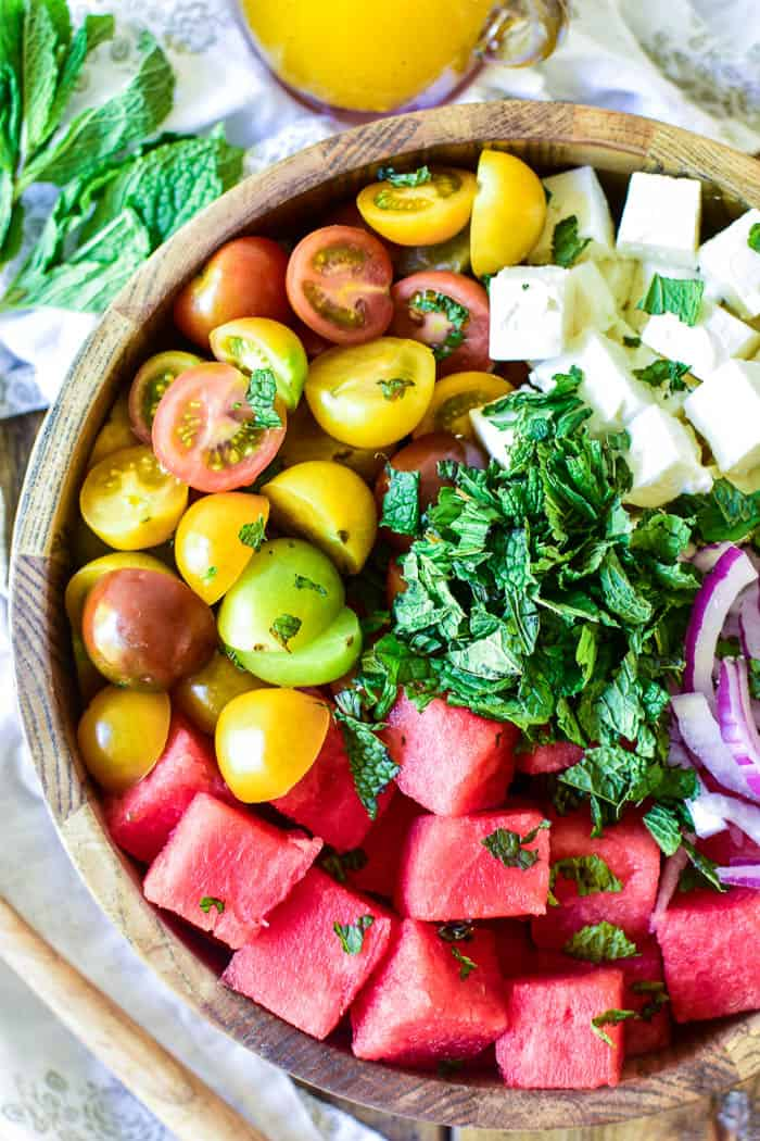 Watermelon Feta Salad ingredients in a bowl