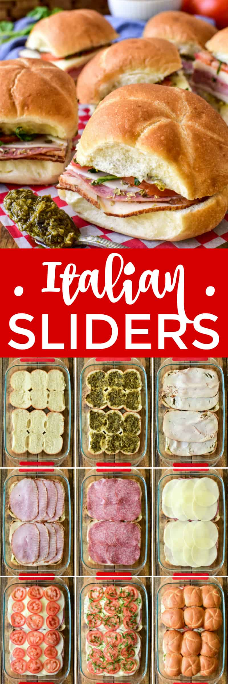 Collage image of Italian Sliders with process shots