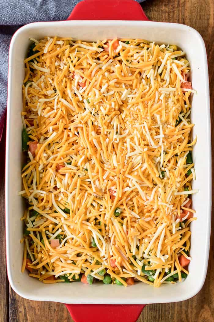 How to make Tater Tot Casserole step by step: cheese layer