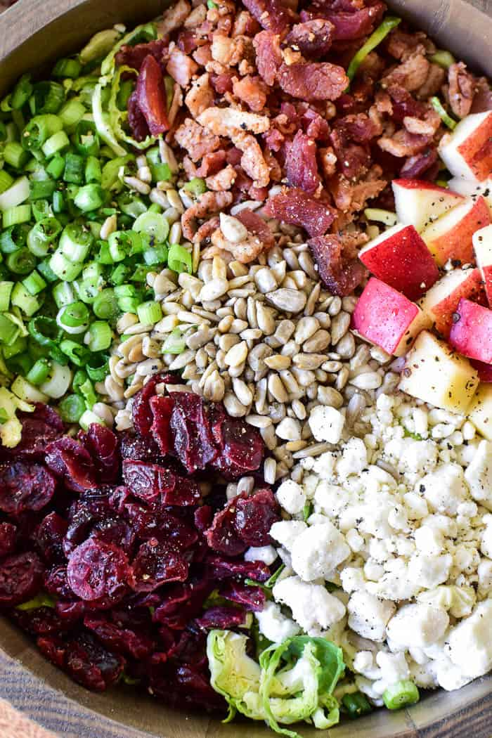 Close up of ingredients for brussel sprout salad