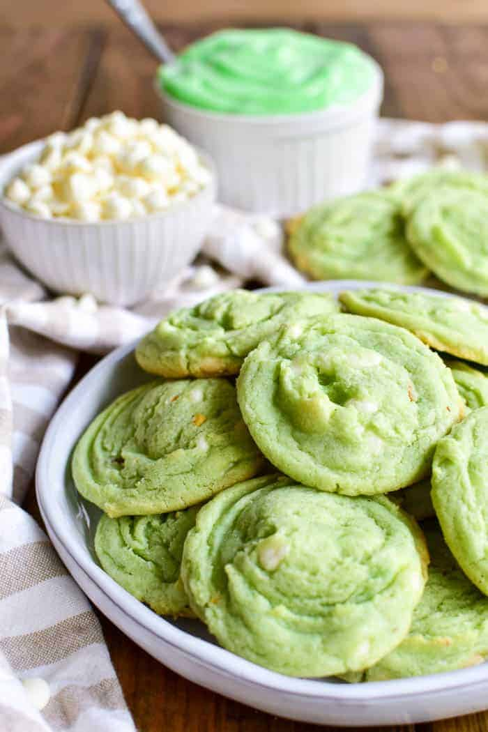 Pistachio Pudding Cookies on plate
