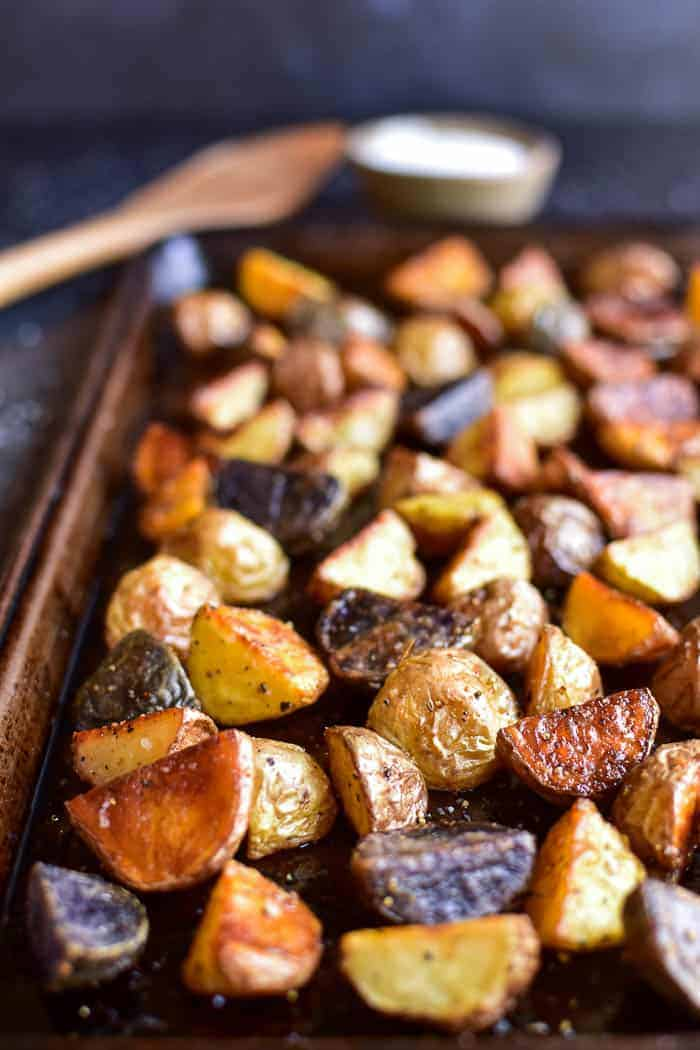 Roasted potatoes on baking pan