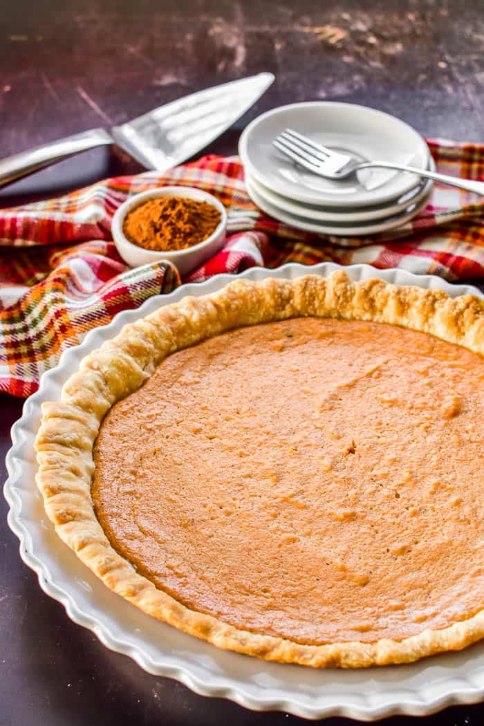 Baked sweet potato pie in pie plate