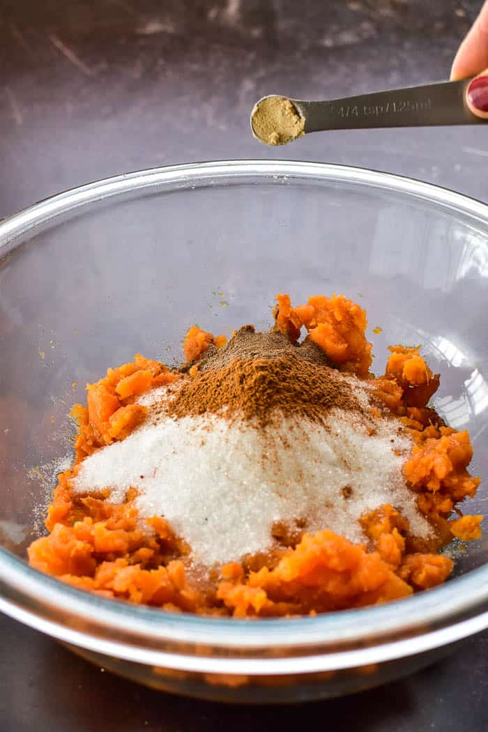 Sweet Potato Pie filling ingredients in bowl