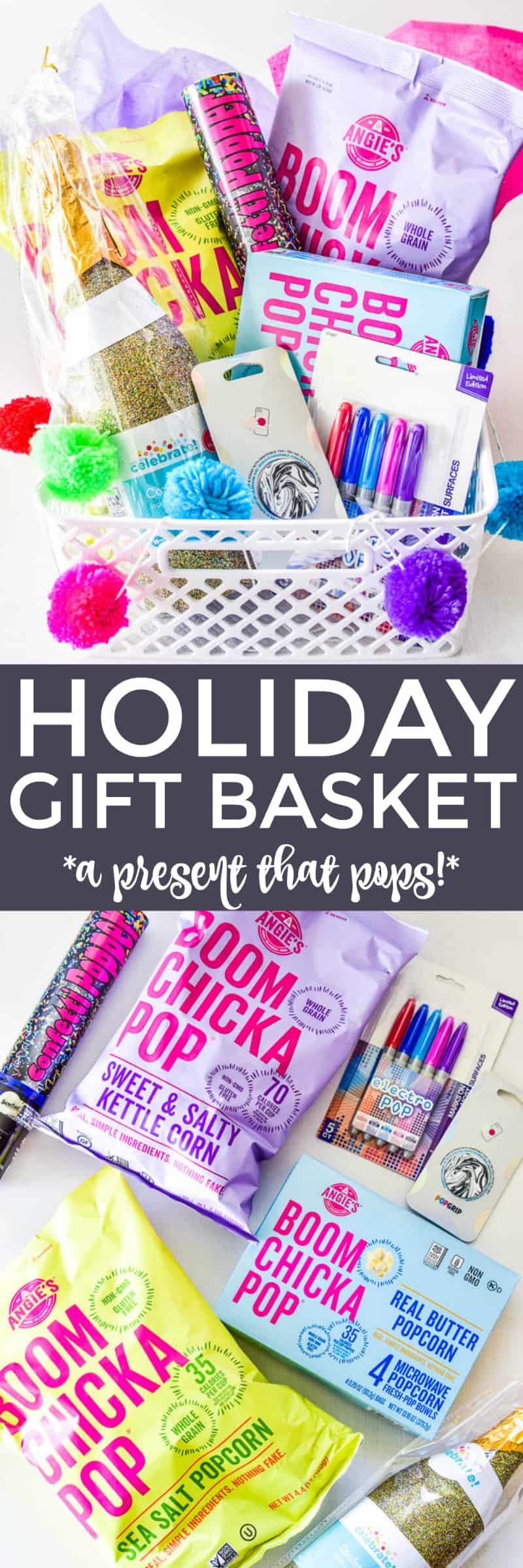 Holiday gift basket featuring Angie's Boomchickapop Popcorn