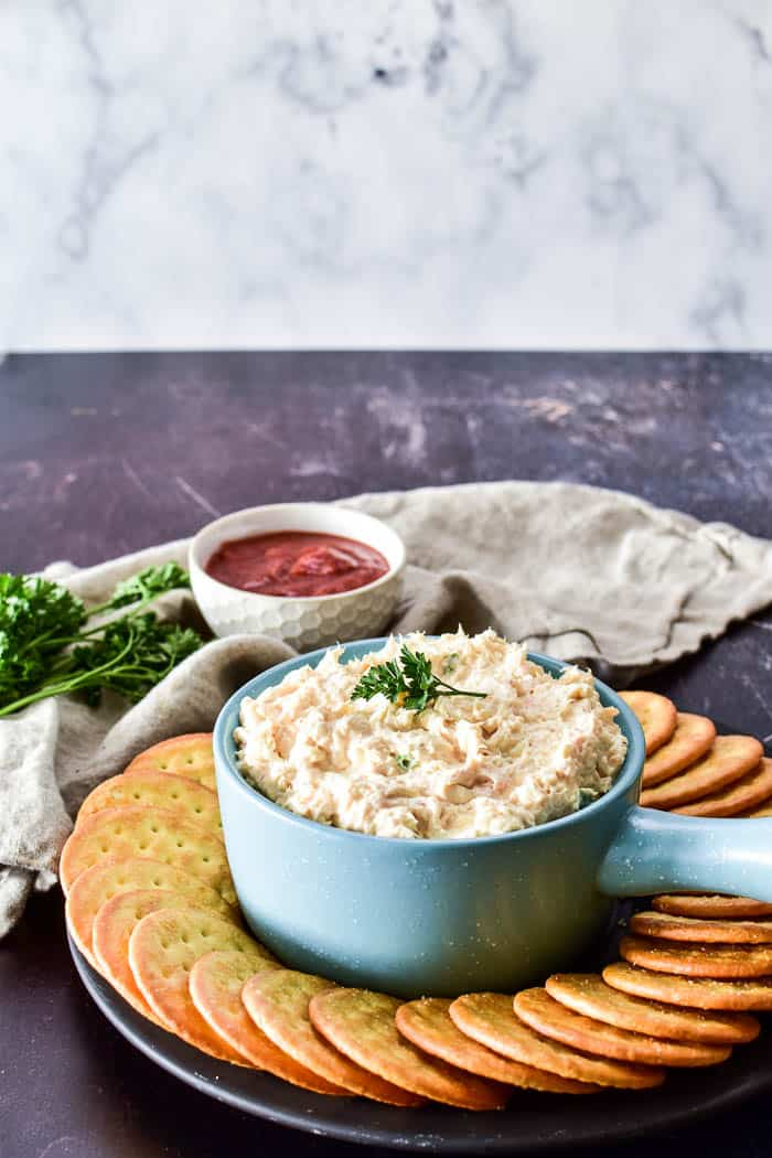 Shrimp Dip in serving bowl with crackers