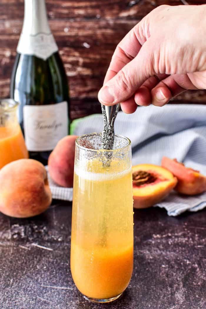 Stir shot for bellini recipe