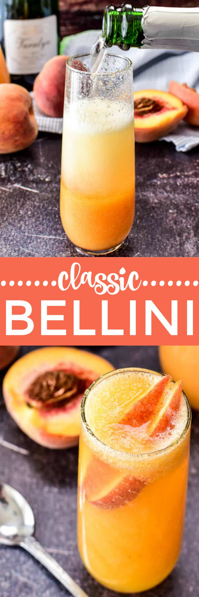 Bellini pour shot and finished cocktail