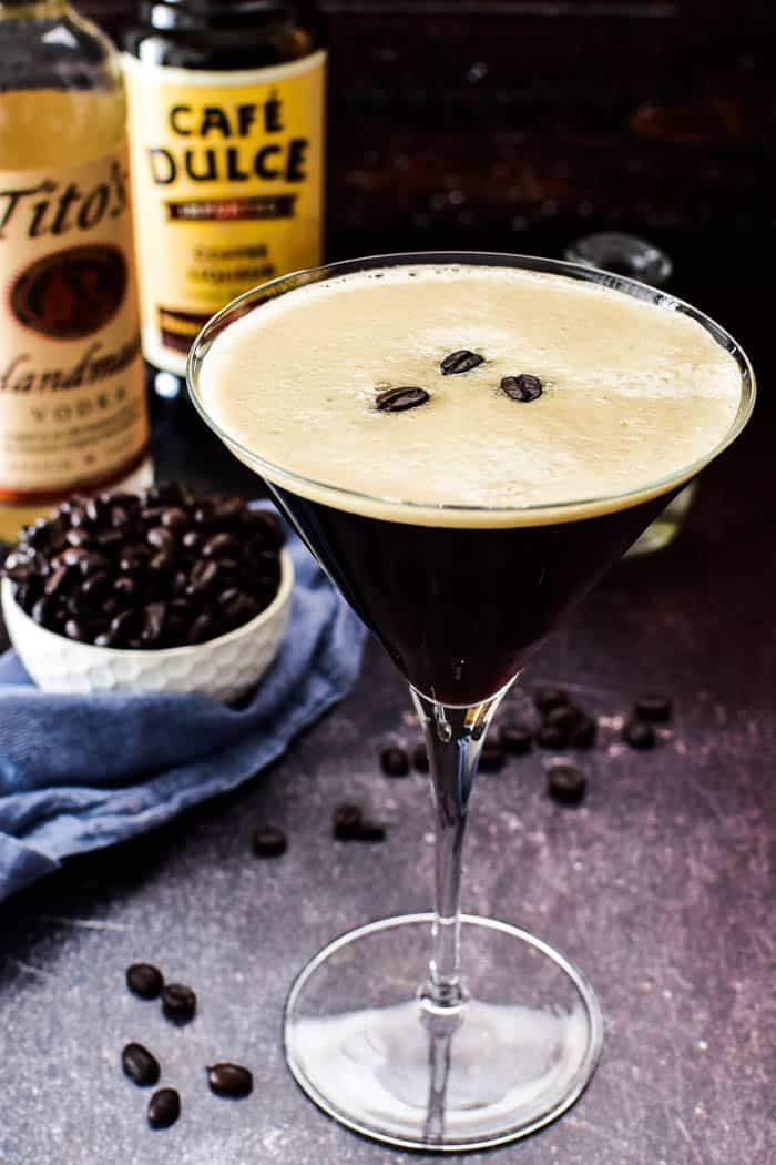 Espresso Martini in glass with Tito's and coffee liqueur