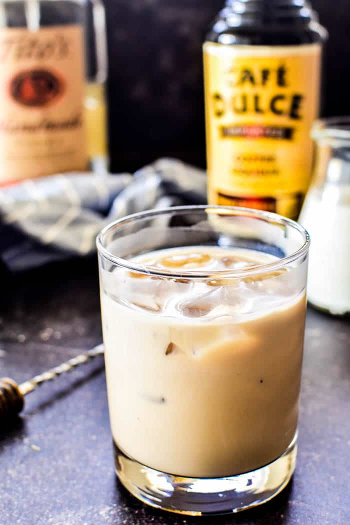White Russian in glass with coffee liqueur, vodka, and cream