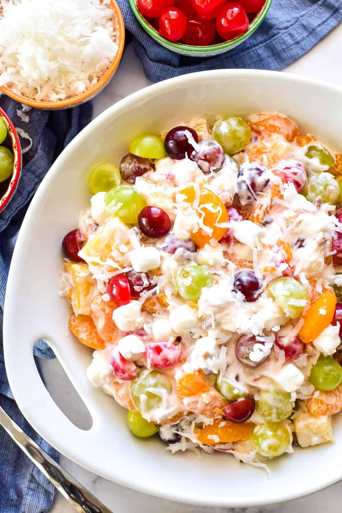 Ambrosia Fruit Salad in serving bowl