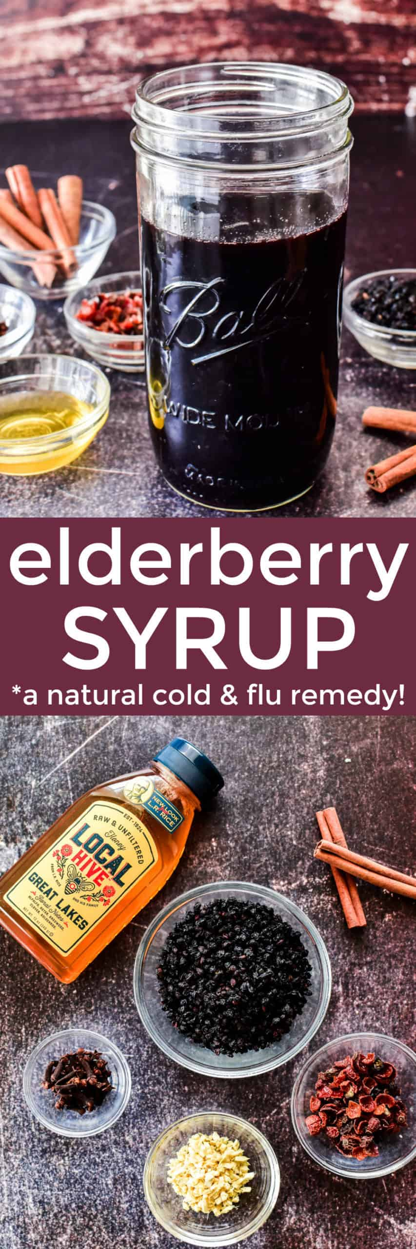 Collage image of Elderberry Syrup ingredients and finished product