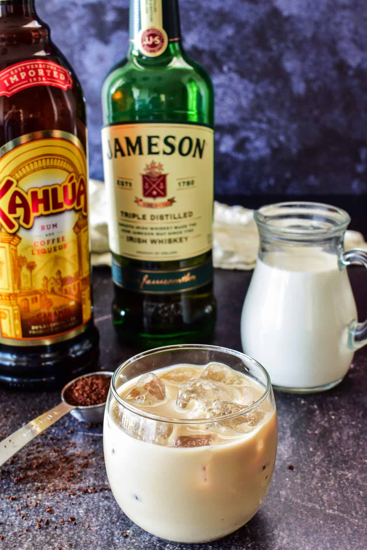 Irish Cream in glass with ingredients in the background