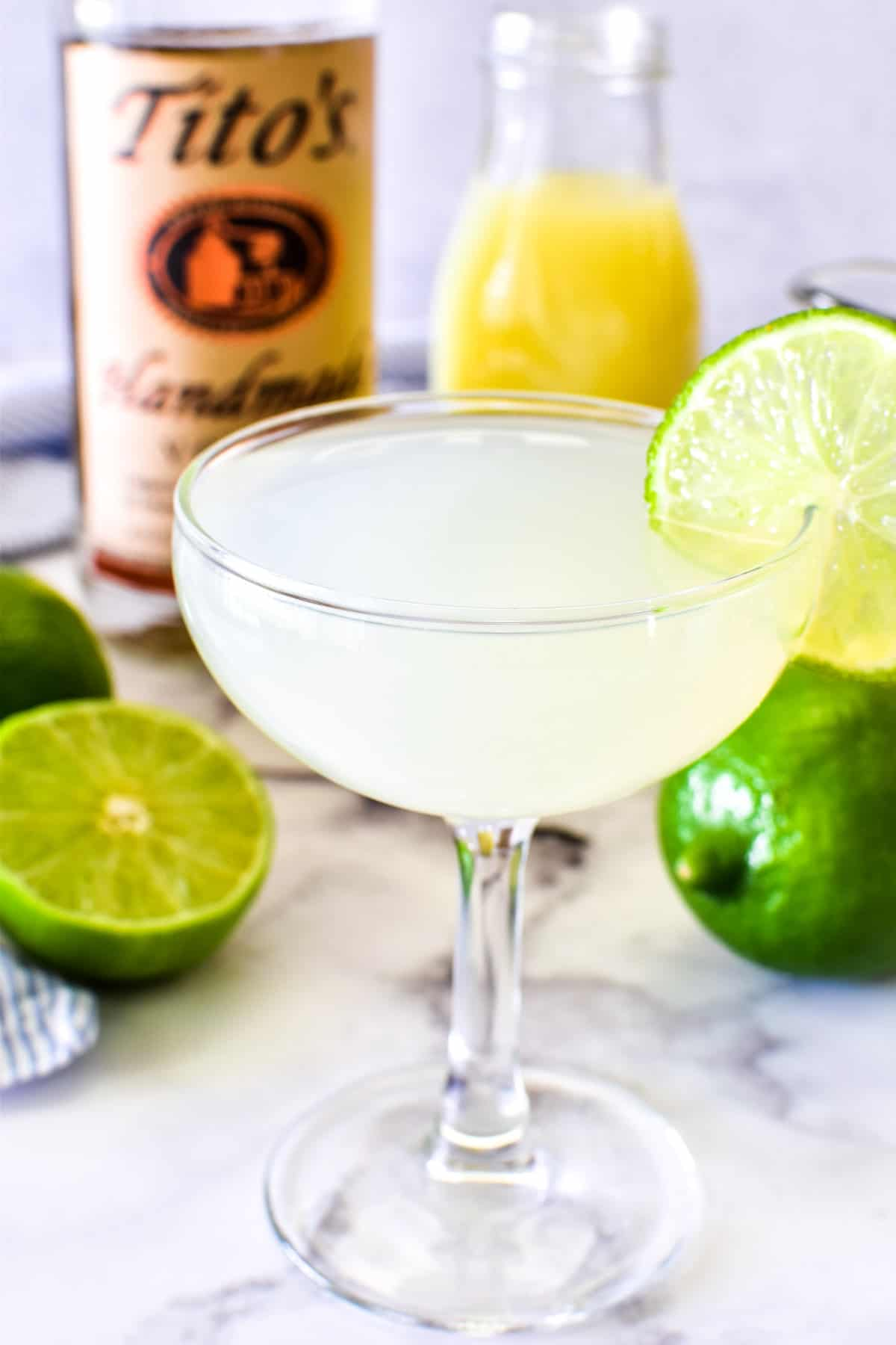 Vodka Gimlet in coupe glass with lime wheel