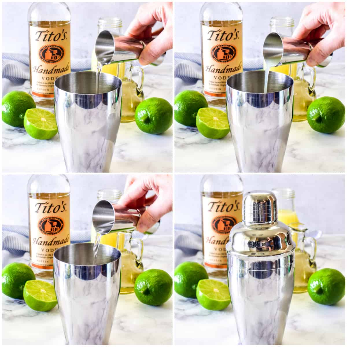 Step by step photos of Vodka Gimlet