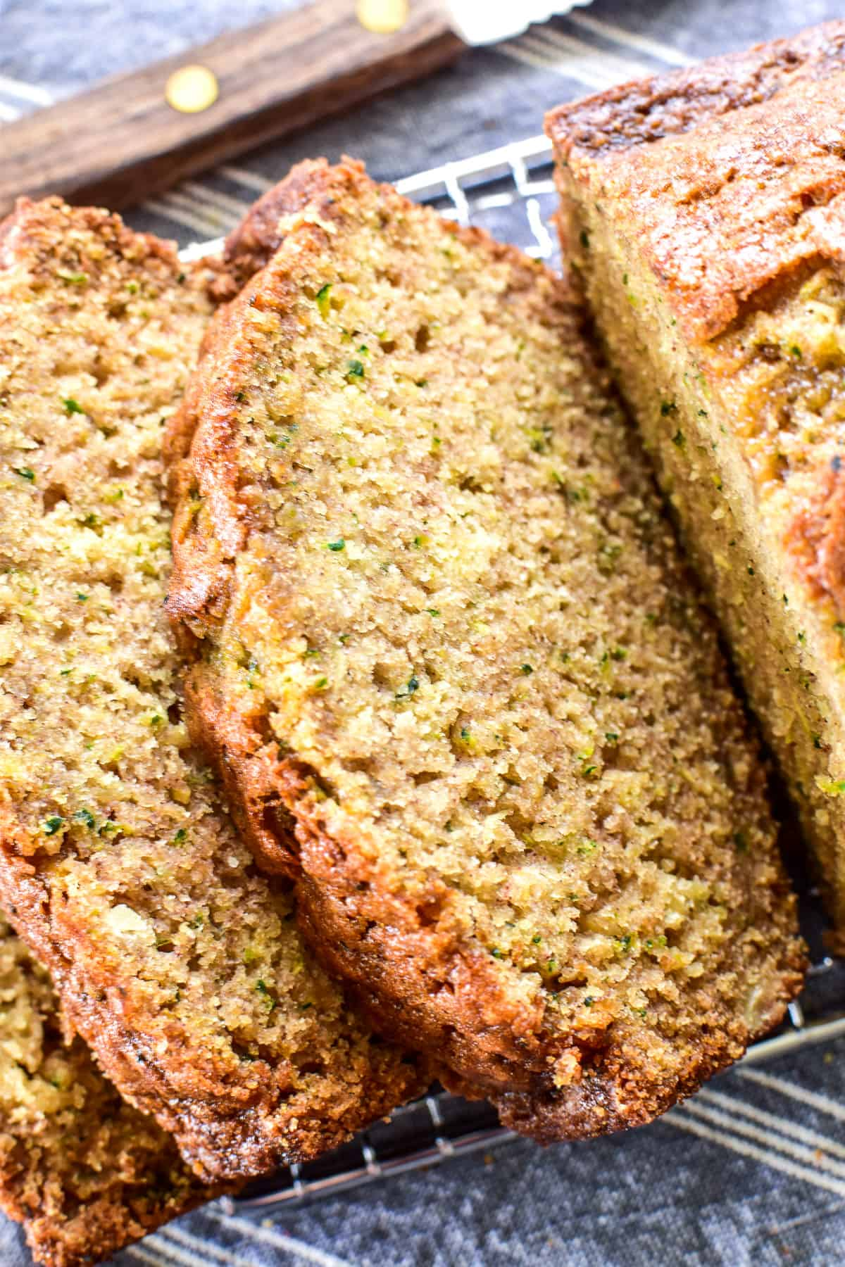 Close up of sliced Zucchini Bread