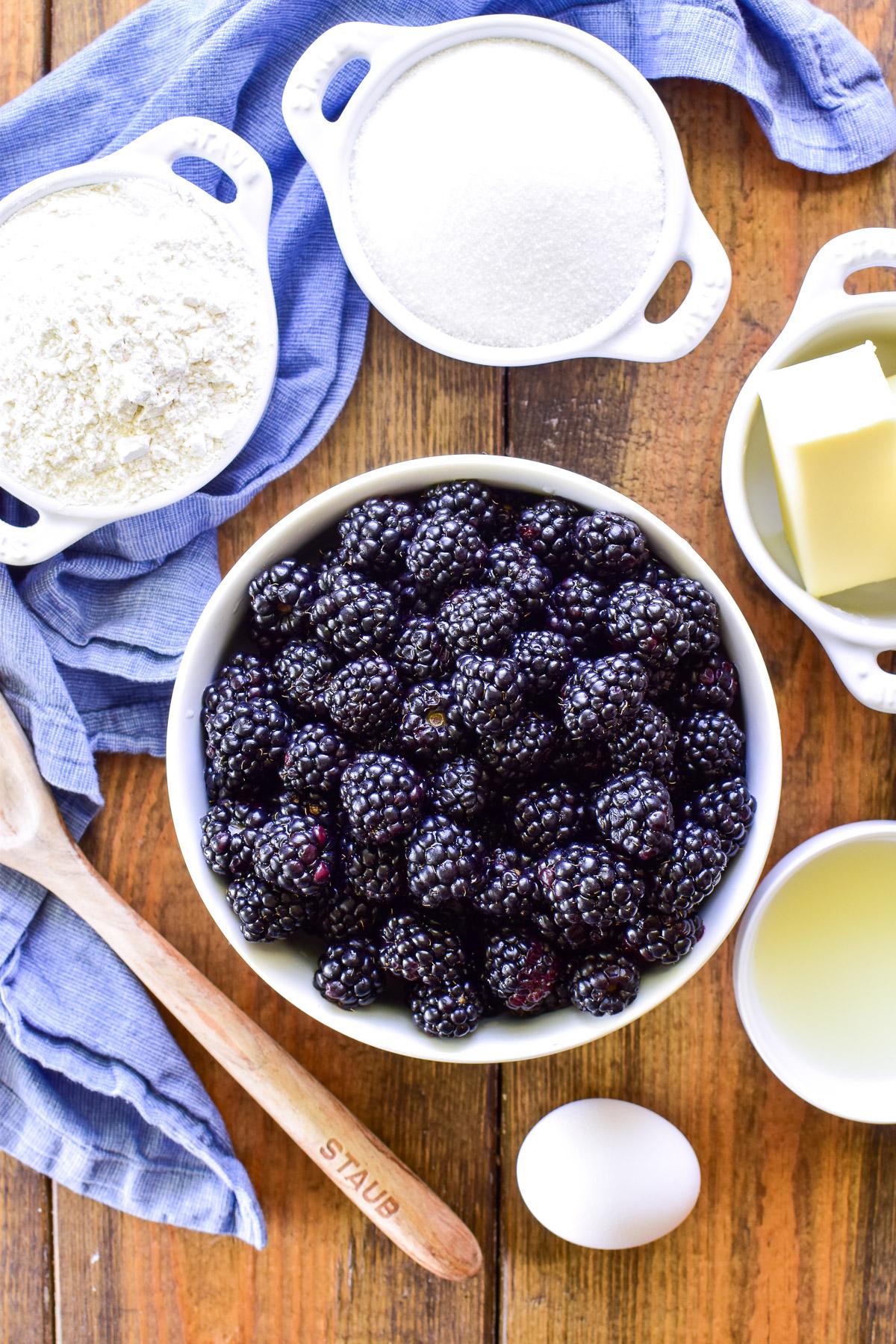 Blackberry Cobbler ingredients in bowls