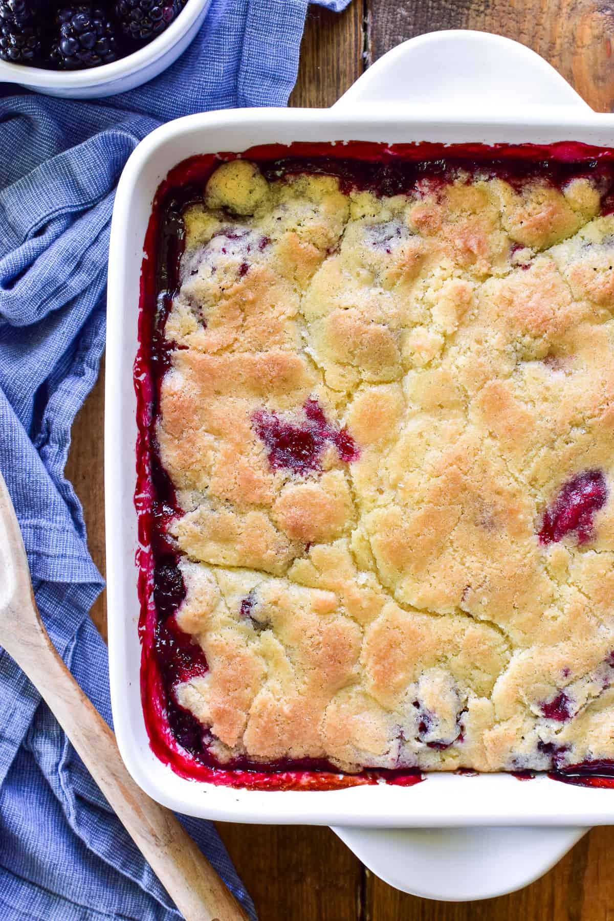 Overhead shot of Balckberry Cobbler in baking pan