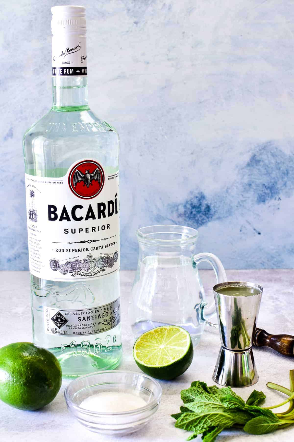 Mojito ingredients using Bacardi white rum