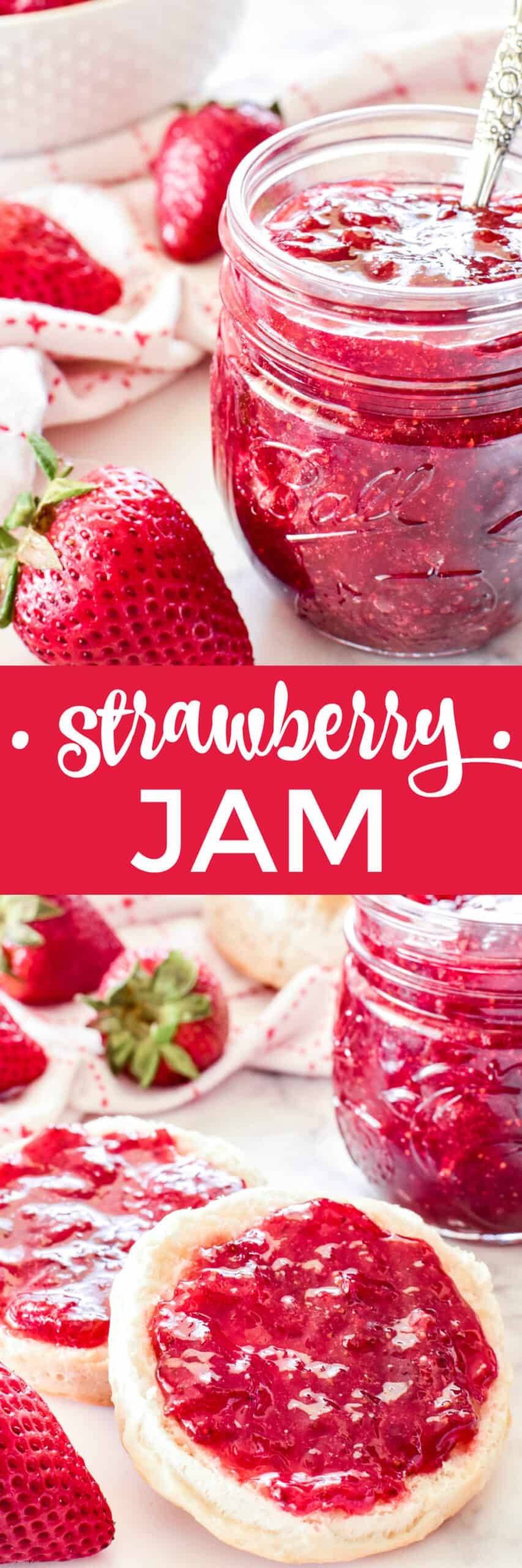 Collage image of jam in jar and on a biscuit