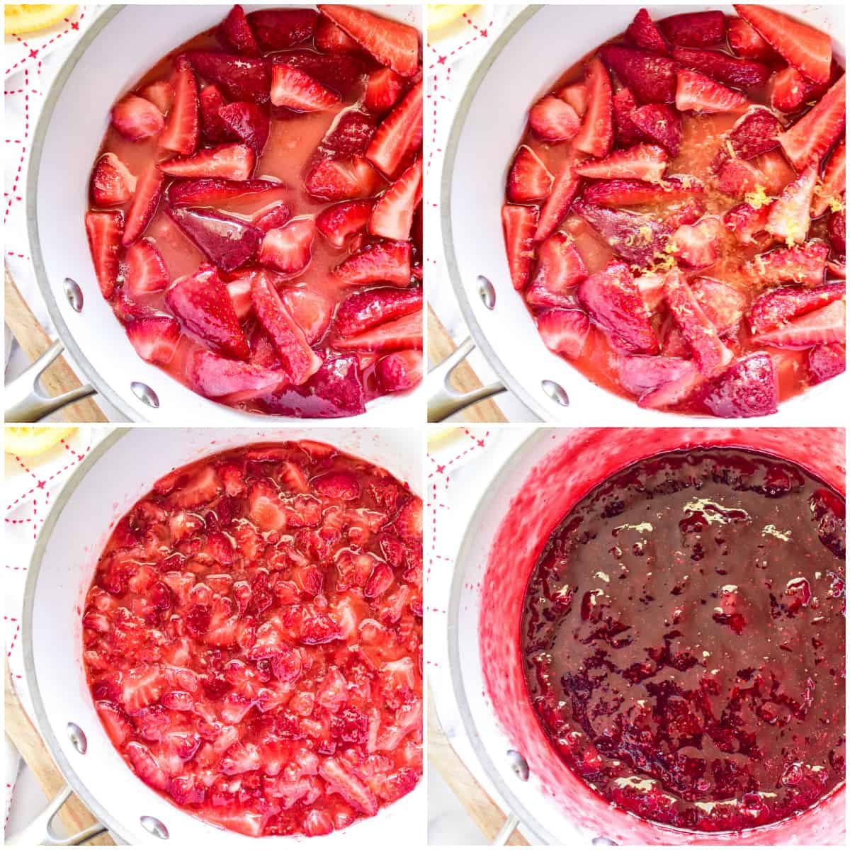Step by step photos of Strawberry Jam cooking in pan