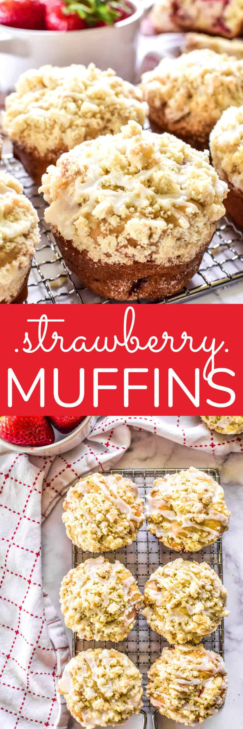 Collage image of Strawberry Muffins
