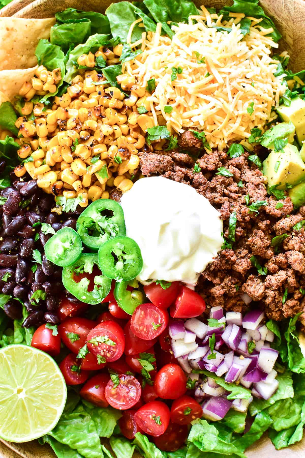Overhead close up of Taco Salad