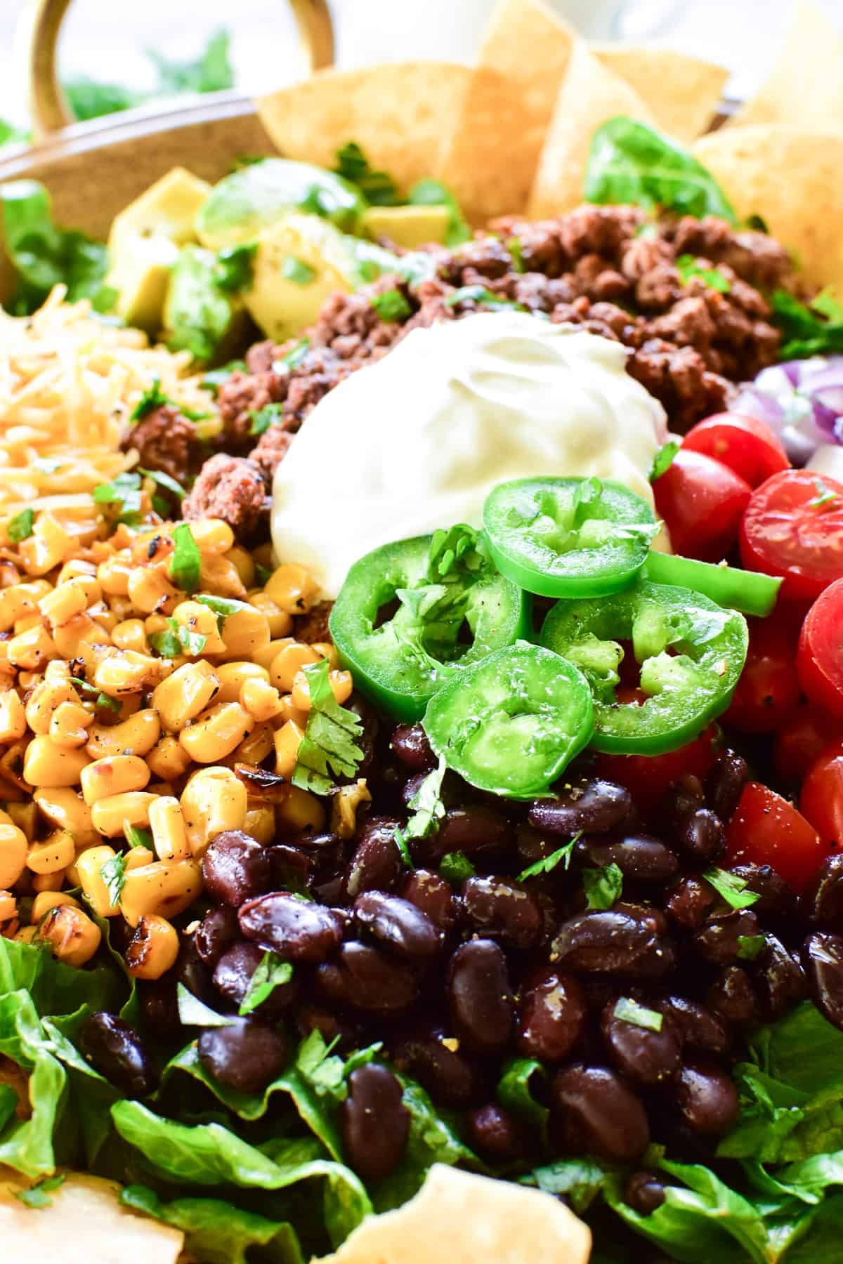 Close up of black beans, corn, and jalapenos in Taco Salad